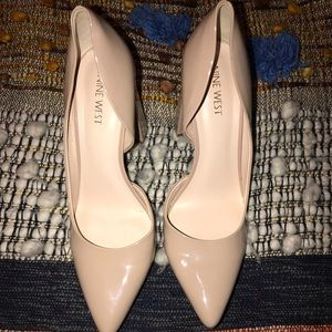 Nine West Patton Leather Nude Block Heel Pumps